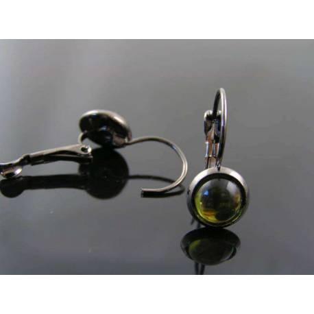 Olive Green Cabochon Earrings in Gunmetal