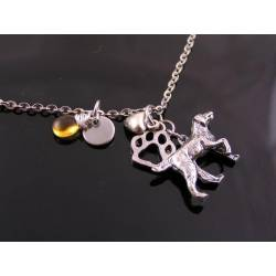 Pointer Dog Necklace with Initial and Birthstone