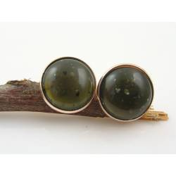 Rose Gold Ear Studs with Olive Green Cabochons