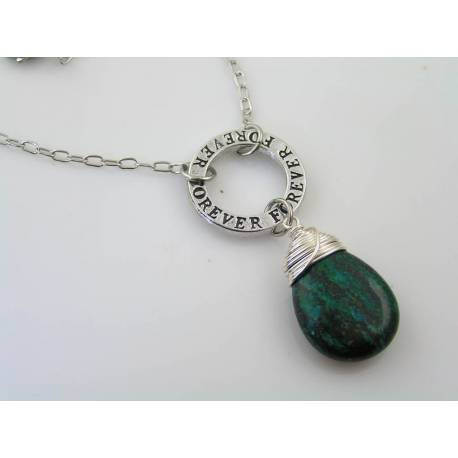 Large Azurite and Malachite Inspirational Necklace, Forever