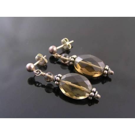 Smokey Quartz Stud Earrings, Sterling Silver