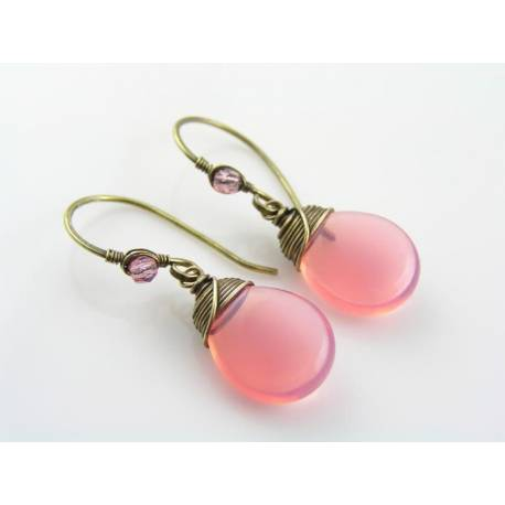 Wire Wrapped Pink Opal Earrings