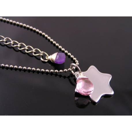 Personalized Initial Star Necklace with Pink Quartz and Amethyst