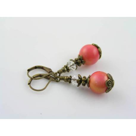 Golden Pink Glass Bead Earrings