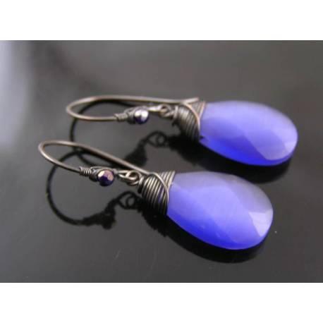 Purple Cats Eye Wire Wrapped Earrings