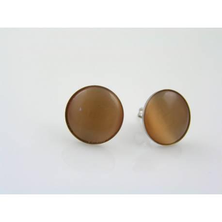 Cat's Eye Stud Earrings, Apricot