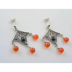 Fabulous Genuine Cubic Zirconia Chandelier Earrings, Sterling Silver