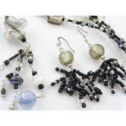 Black and Silver Glass and Seed Bead Necklace + Matching Earrings