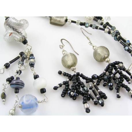Handmade Black and Silver Seed Bead Necklace and Earrings Set