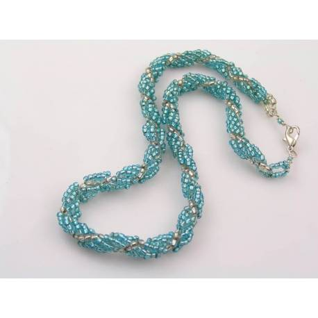 Seed Bead Spiral Necklace, Blue and Silver