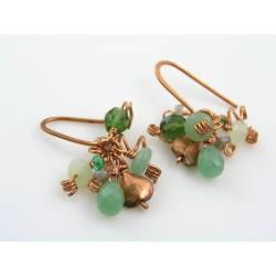 Green Gemstones and Copper Earrings