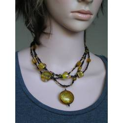 3 Strand Seed Bead and Gold Foiled Lampwork Necklace