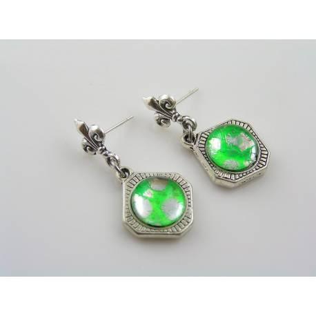 Green Cabochon Dangle Earrings