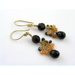 Spinel, Onyx and Mandarin Garnet Earrings