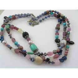 Three Strand Gemstone, Pearl and Glass Bead Necklace