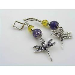 Dragonfly Earrings, Cat's Eye Beads
