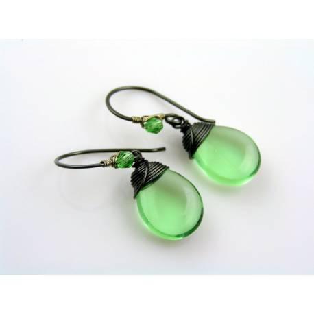 Large Green Czech Drop Earrings, Wire Wrapped Ear Wires