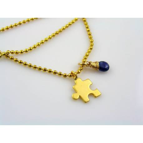Tiny Puzzle Charm Necklace with Wire Wrapped Blue Sapphire