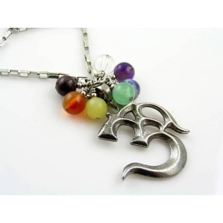 Om Symbol Necklace with Chakra Gemstones