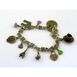 Paris Charm Bracelet with Czech Glass Beads