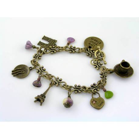 Paris Charm Bracelet - Live your Dream with Czech Glass Beads