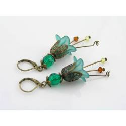 Forest Green Lucite Flower Earrings, Antique Style