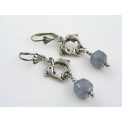 Dolphin Earrings with Iolite Gemstones
