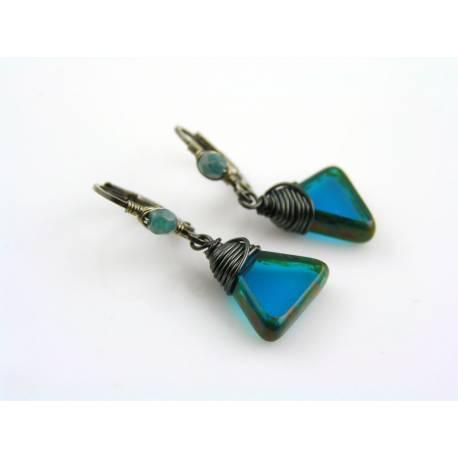 Teal Blue Triangle Drop Earrings