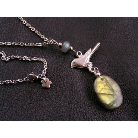 Labradorite and Bird Charm Necklace