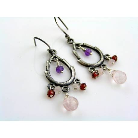 Oxidized Silver Chandelier Earrings with Rose Quartz, Garnet and Amethyst