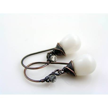 Wire Wrapped White Drop Earrings