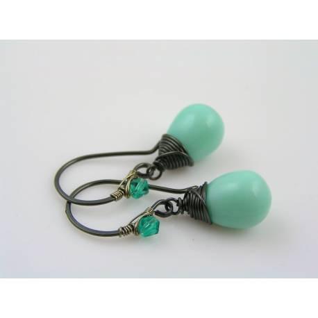 Smooth Turquoise Czech Glass Teardrop Earrings