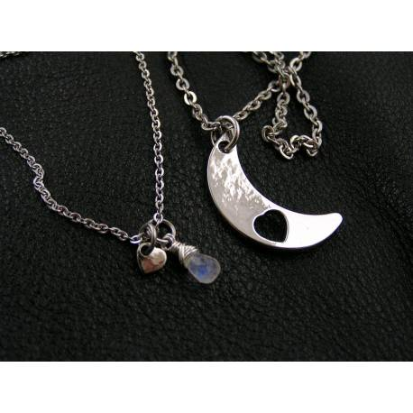 Matching Necklace Set with Heart and Bird Pendant, Amethyst