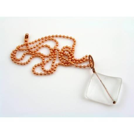 Wire Wrapped Large Rock Quartz Pendant Necklace