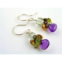 Gemstone Cluster Earrings, Sterling Silver