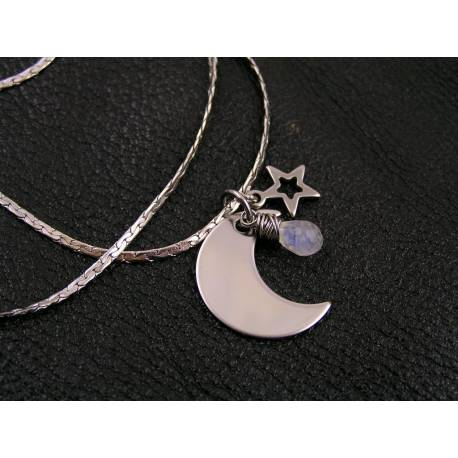 Rainbow Moonstone, Moon and Star Charm Necklace