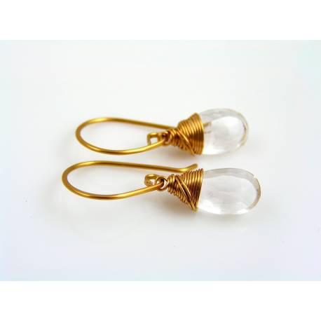 Rock Quartz Earrings, Bronze