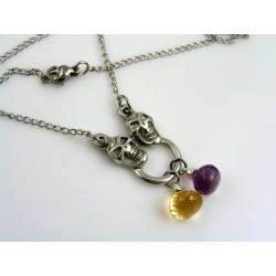 Skull Necklace with Citrine and Amethyst