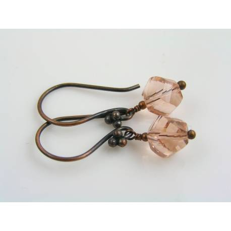 Peach Crystal Earrings, Solid Copper