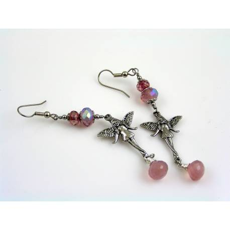 Fairy Earrings with Pink Chalcedony