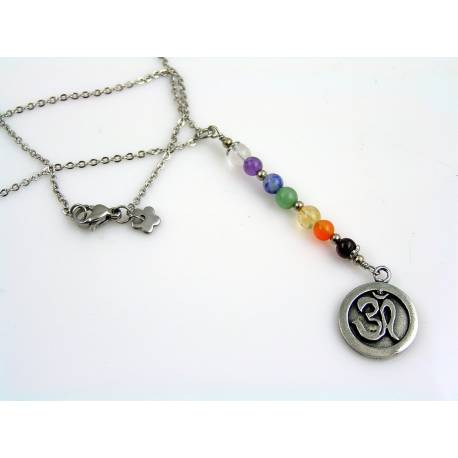 Om Necklace with Chakra Gemstones