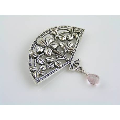 Large Pink Quartz Silver Brooch