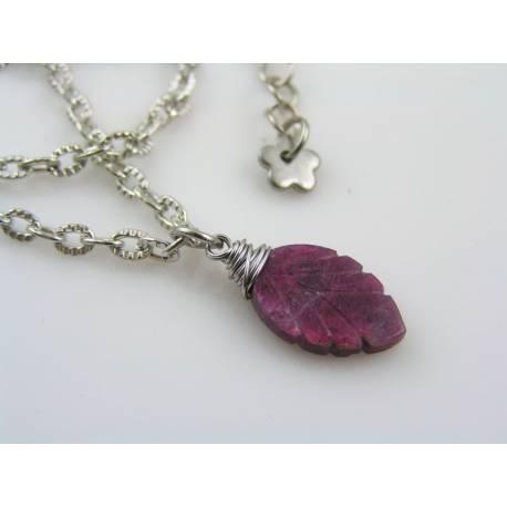 Carved Ruby Leaf Necklace