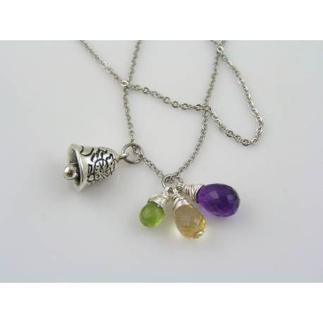 Motorcycle Gremlin Bell Necklace, Charm Necklace for Biker