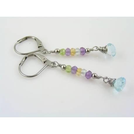 Gemstone Earrings, Blue Topaz, Amethyst