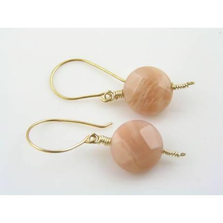 Peach Moonstone Gold Earrings
