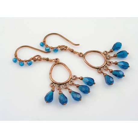 Teal Czech Glass Bead Chandelier Earrings