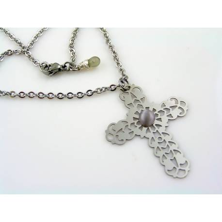 Filigree Cross with Cat's Eye Necklace