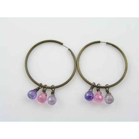 Pink and Purple Cubic Zirconia Hoop Earrings