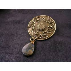 Large Ornate Brooch with Labradorite Drop
